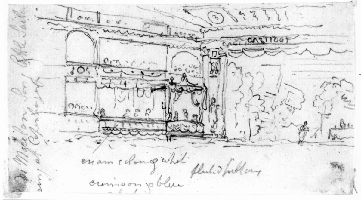"TeaterFra skissealbum av John W. Edy, ""Drawings Norway 1800""."
