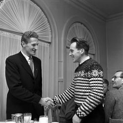 Serie. Skiløperen Halgeir Brenden i 1956, bl.a. med en itali