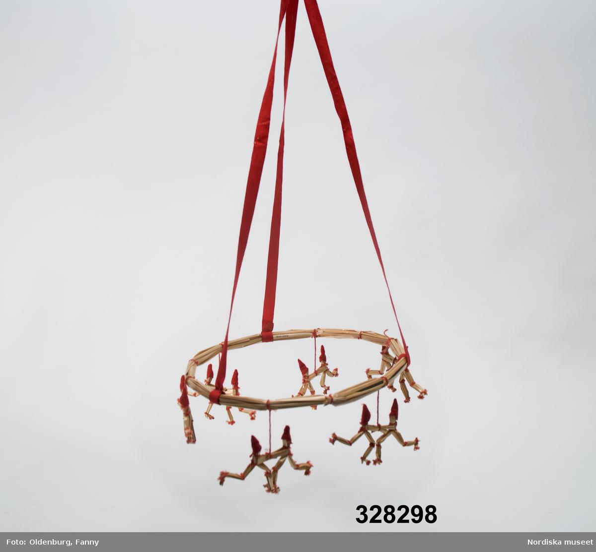En enkel rund halmkrona, 23 cm i diameter med 6 par hängande dansande halmtomtar. Tomtarna är hopknutna med röd bomullstråd och har röda ylleflanell-luvor. Upphängningsanordningen består av tre röda bomullsband hopknutna upptill, fästa runt kransen med lim. Anm: Limmet har släppt på två av banden. /Lena Kättström-Höök 2005-12-06