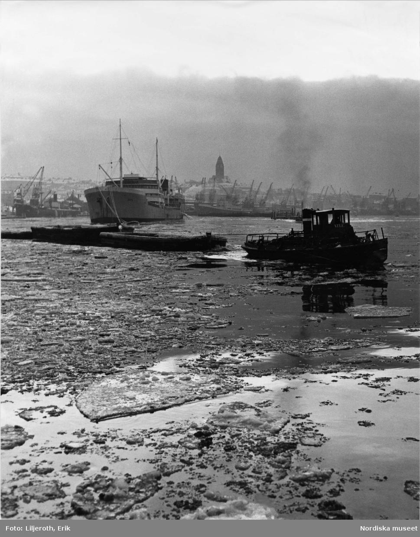 I förgrunden en bogserbåt och ett fraktfartyg. I bakrunden syns silhuetten av Masthuggsbebyggelsen