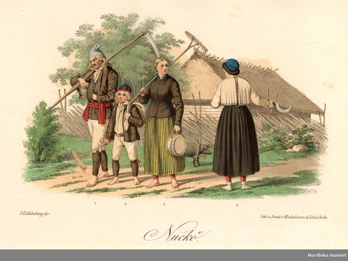 Allmoge från Nuckö, Estland. Litografi från förlaga av E H Schlichting.