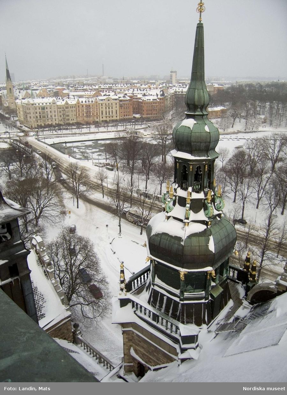 Utsikt från tornet på Nordiska museet norrut vintern 2005.