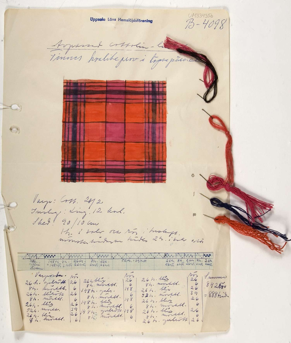 Ett papper med en vattenfärgsskiss i orange, rött och svart. Papperet är märkt B-4098 och innehåller även information om material och vävning. Fasthäftat vid papperet sitter garnprover av lin och cottolin.