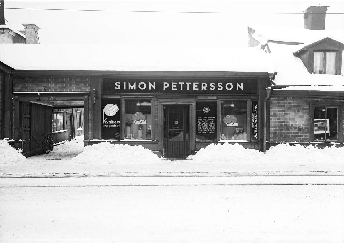 Simon Petterssons speceriaffär, Kungsängsgatan 21, kvarteret Bryggaren, Uppsala 1939