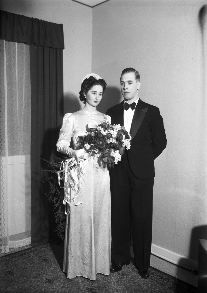 Brudpar, sannolikt Uppsala, 1938