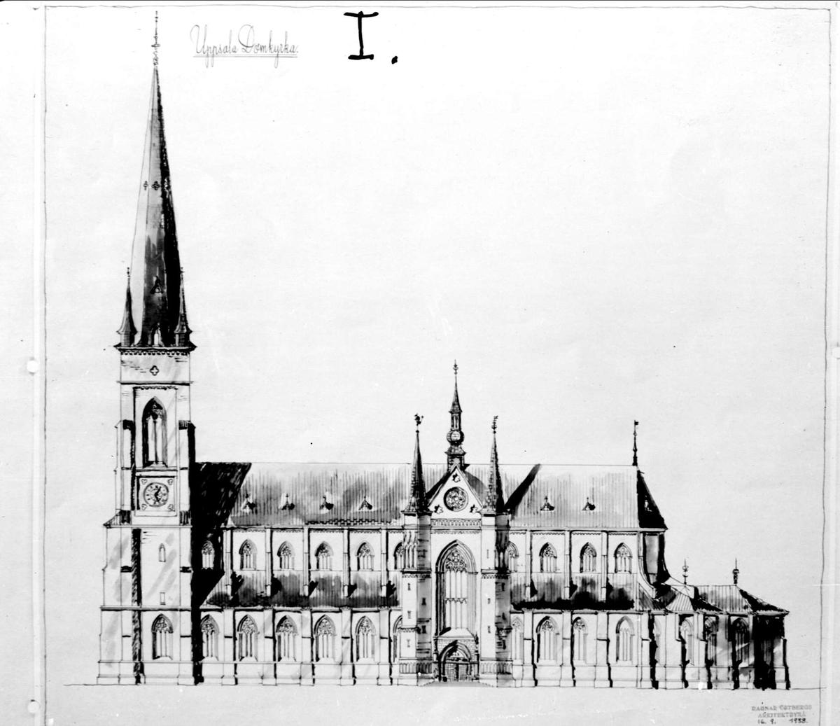 Ritning, Uppsala domkyrka, Uppsala oktober 1941