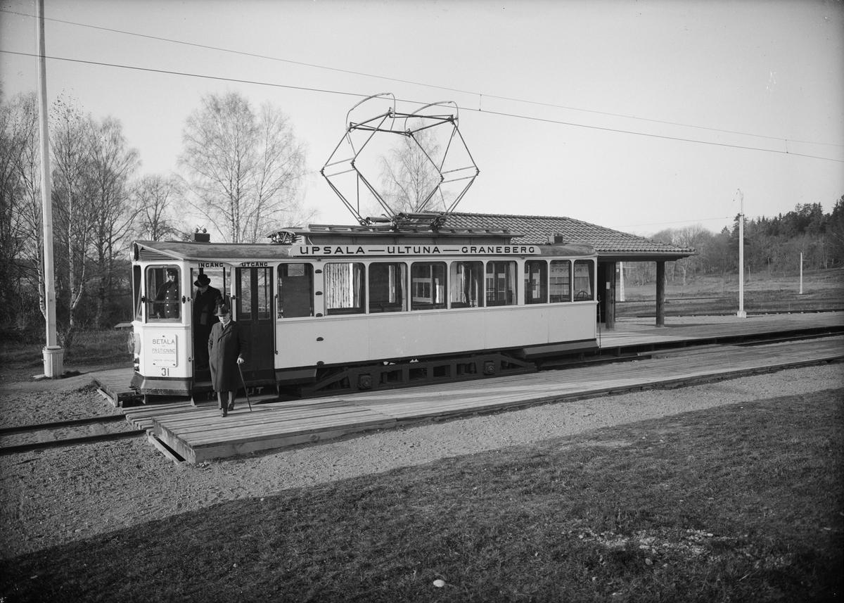 Spårvagn på Granebergslinjen, ändstationen vid Graneberg, Uppsala augusti 1928