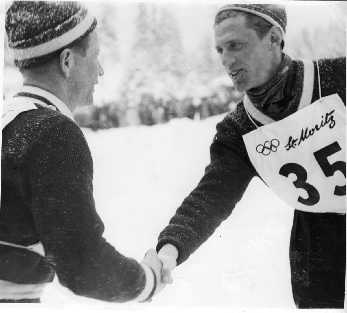 Birger Ruud congratulates Petter Hugsted in St. Moritz 1948
