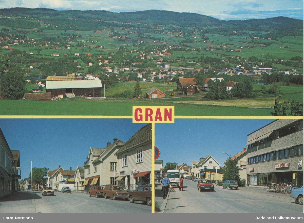 Postkort med tre foto over Gran sentrum. To foto fra Storgata og et oversiktsbilde over Vassenden.