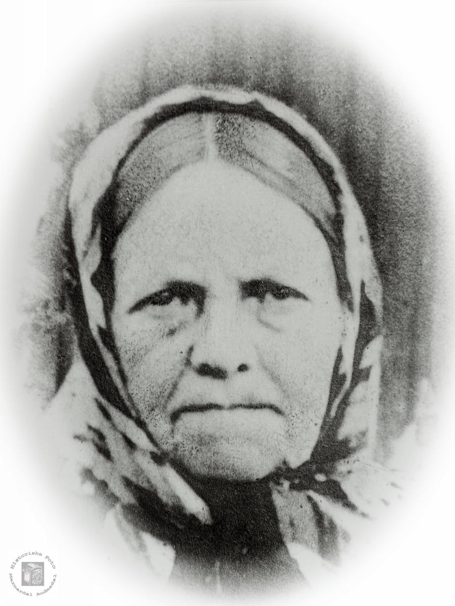 Portrett av Anna Sveindal. Grindheim Audnedal.