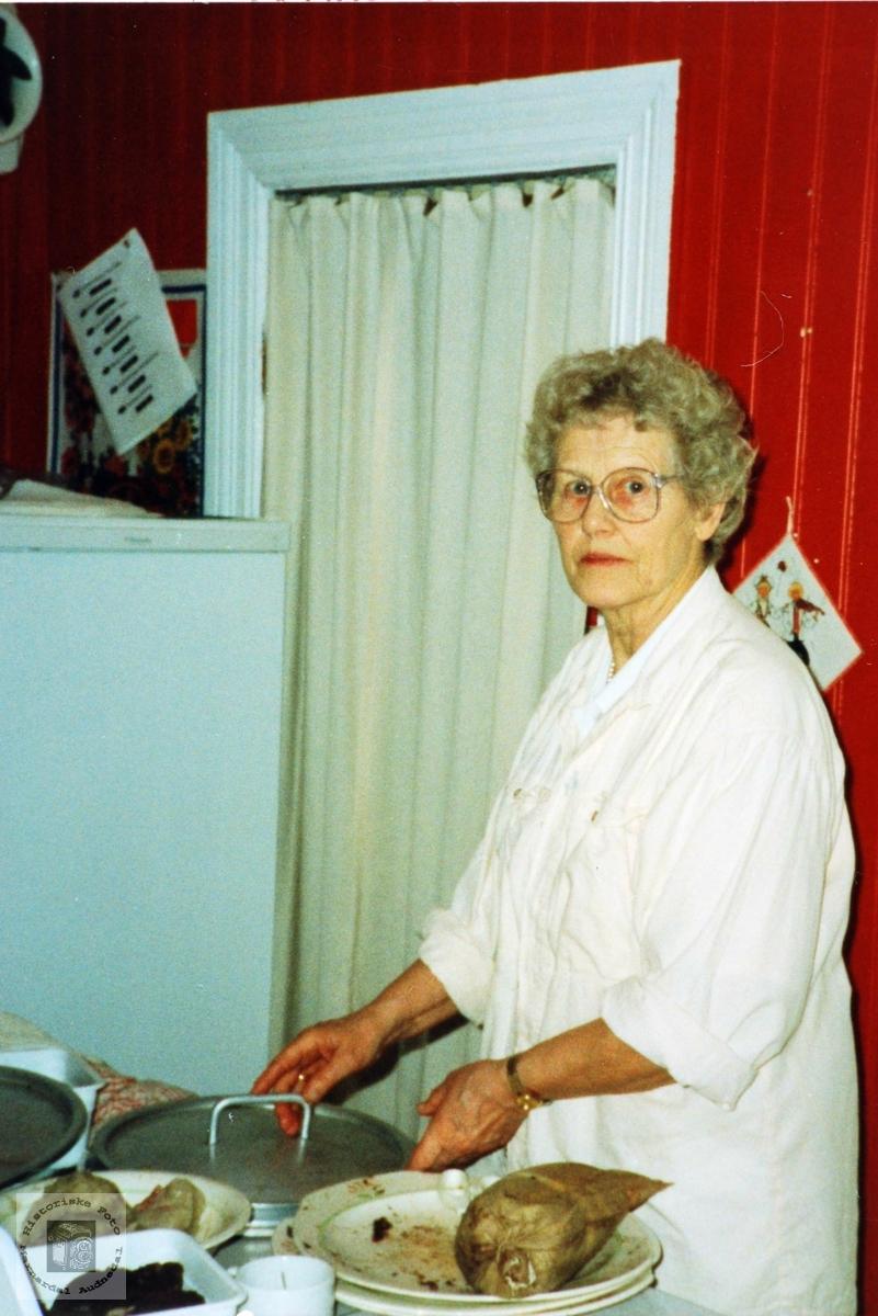 """Kari Haaland styrer med """"pylseposer"""" i Håbergs hus. Audnedal."""