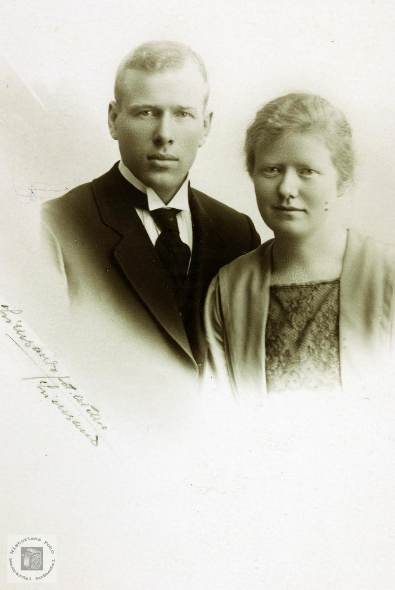 Portrett av ekteparet Endre og Mair Hårtveit. Grindheim Audnedal.