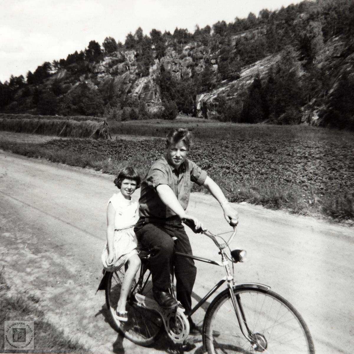 Johan og Anne Keth Helle på sykkeltur. Audnedal.