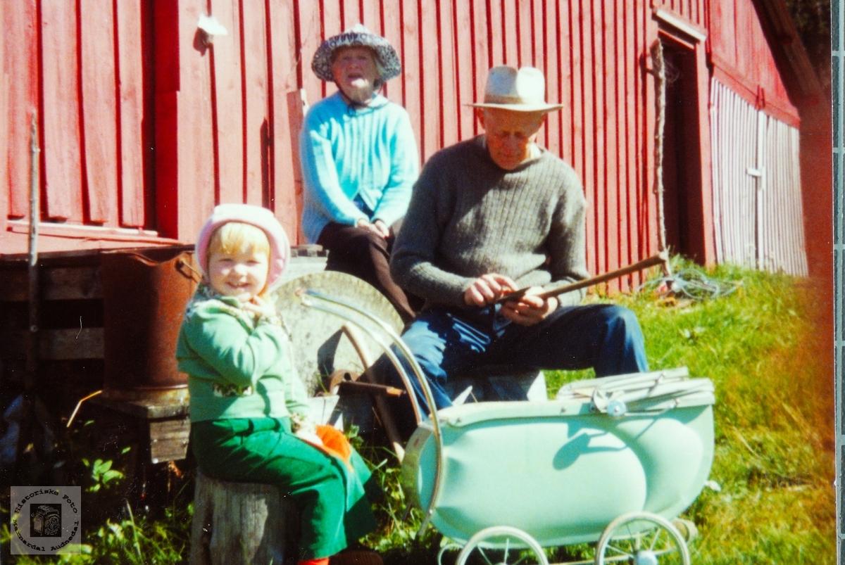 Med barnevogn ved slipesteinen på Butveit. Audnedal.