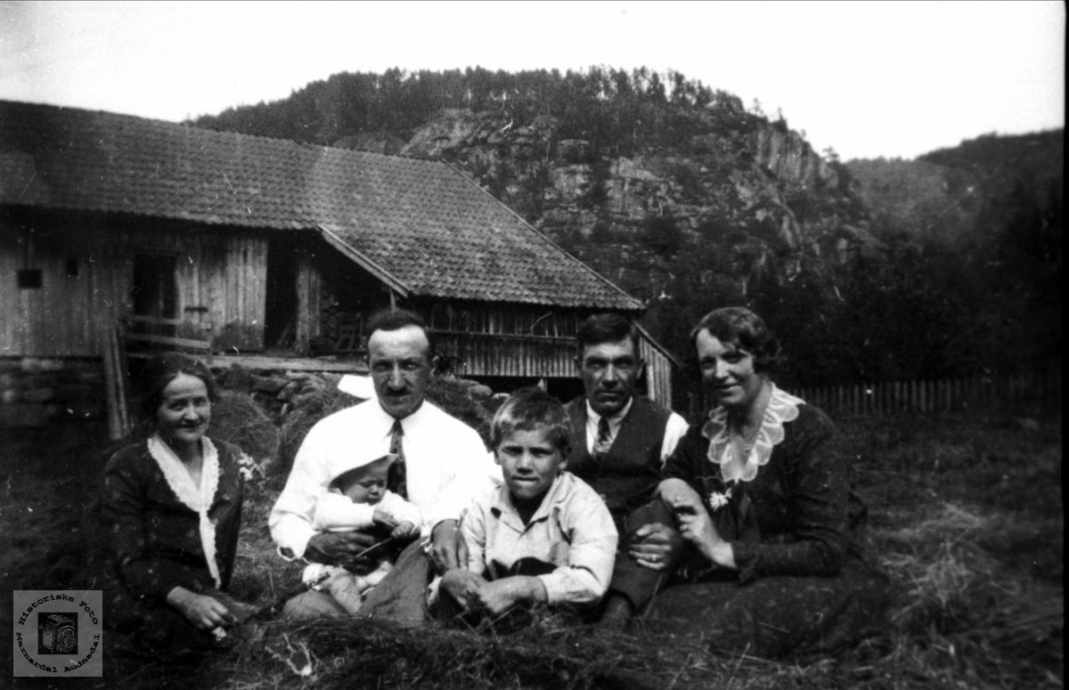 Familien Hansen, Stusvik og Johannessen på tunet. Strædet, Laudal.