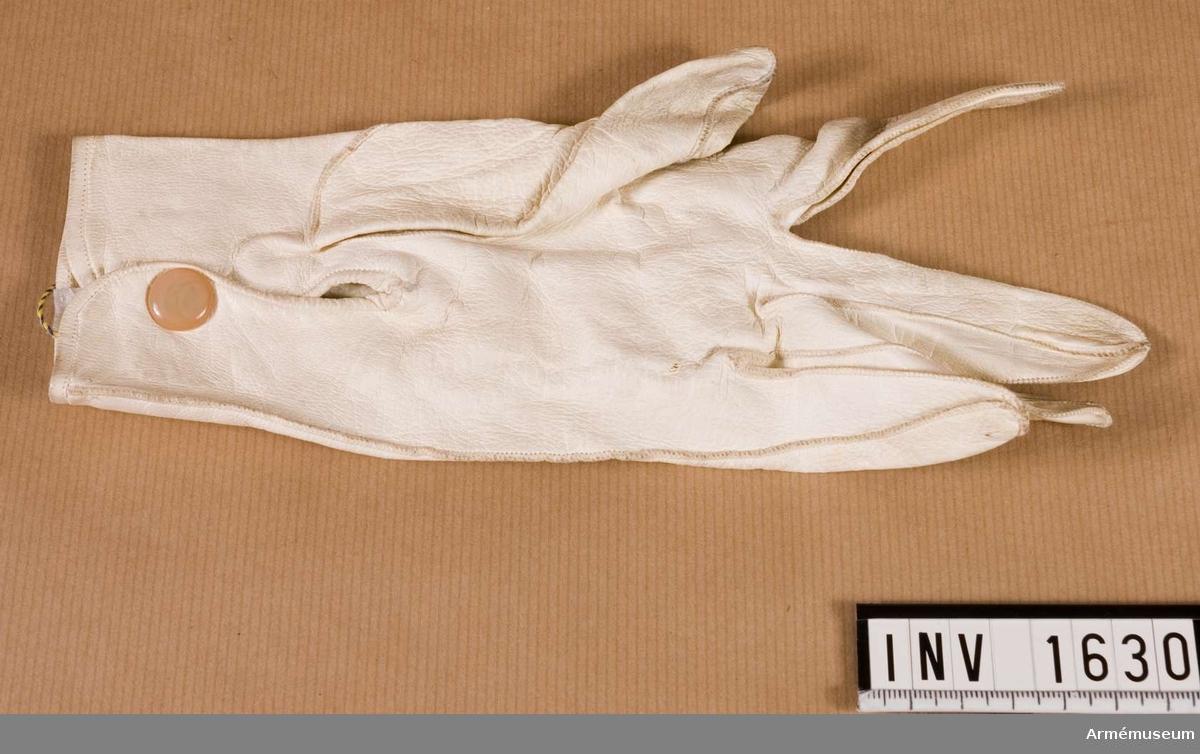 Handske V, för officer.Stl 7 3/4. Av färgat, alungarvat getskinn. Knäppes i sprundet på insidan av handloven med en tryckknapp av pärlemor. Maskinsydda och har tre dekorationsstickningar på handryggen. Bäres till parad.