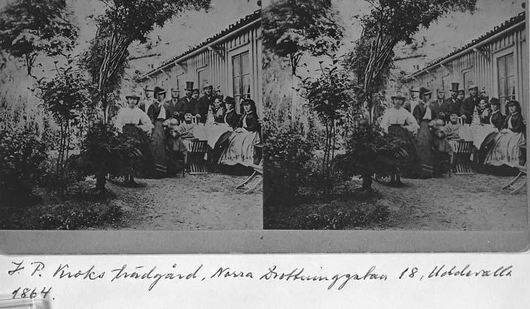 J. P. Kroks trädgård, Norra Drottninggatan 18, Uddevalla år 1864. Stereofoto.
