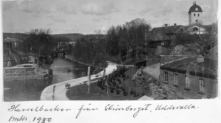 """Text på kortet: """"Hasselbacken från Strömberget, Uddevalla. omkr. 1920""""."""