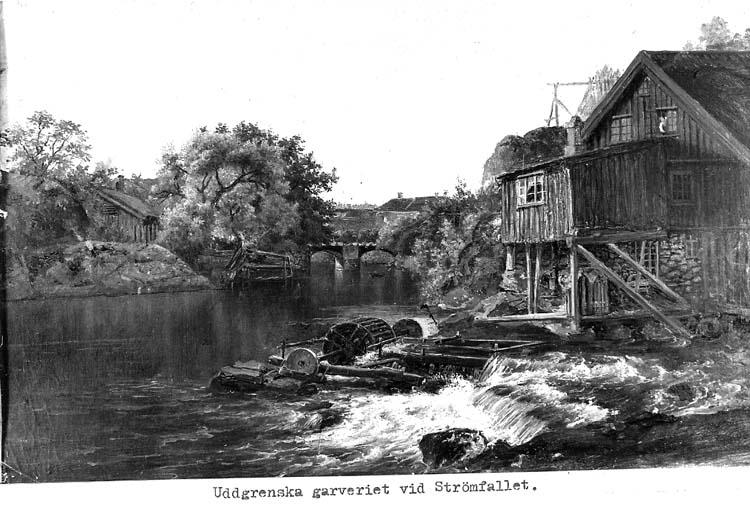"""Text på kortet: """"Uddgrenska garveriet vid Strömfallet""""."""