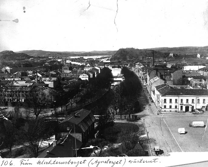 """Text på kortet: """"106. Från klocktornsberget (Agneberget) västerut""""."""
