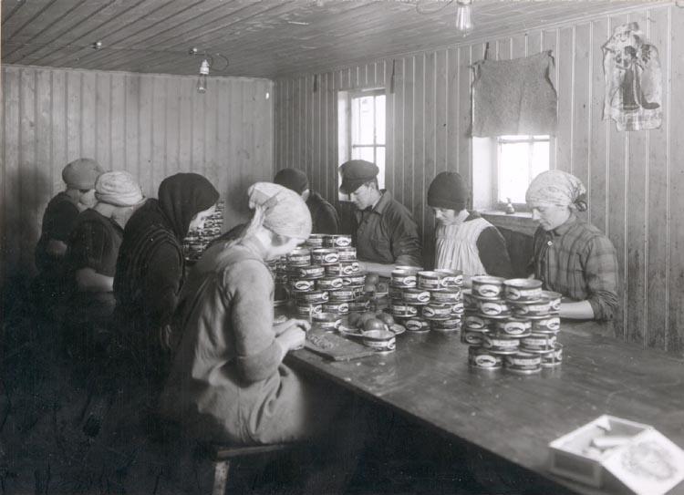 """Noterat på kortet: """"SMÖGEN."""" """"KONSERVFABRIK"""". """"FOTO (E33) DAN SAMUELSON 1924. KÖPT AV DENS. DEC. 1958""""."""