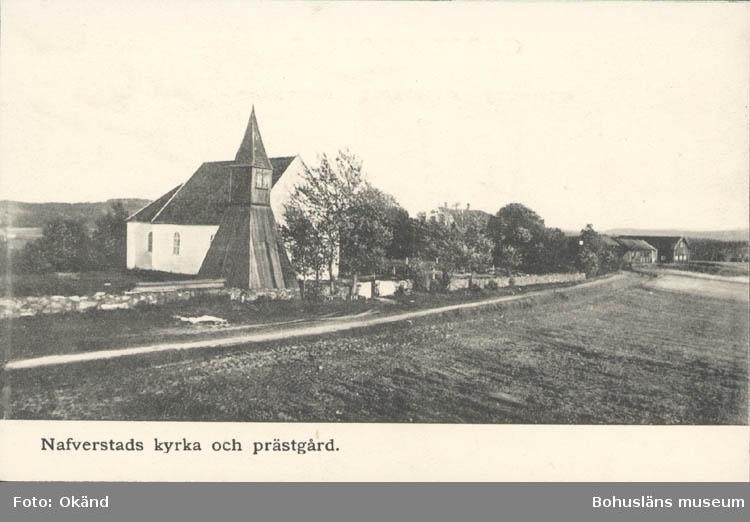 """Tryckt text på kortet: """"Nafverstads kyrka och prästgård."""" ::"""