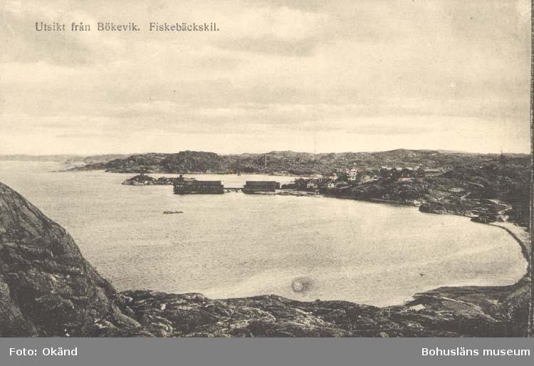 """Tryckt text på kortet: """"Utsikt från Bökevik, Fiskebäckskil."""" ::"""