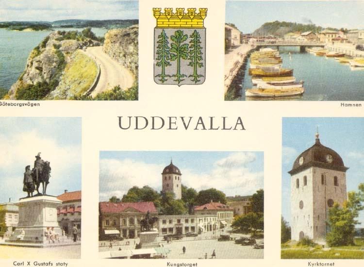 """Tryckt text på kortet: """"Uddevalla."""" """"Gustafsbergsvägen, Hamnen, Carl X Gustafs staty, Kungstorget, Kyrktornet."""""""