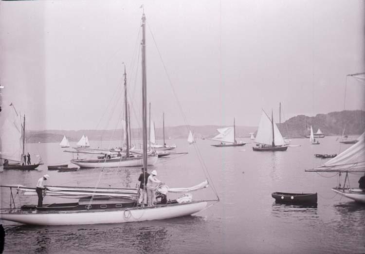 """Enligt text som medföljde bilden: """"Gustafsberg. Kappseglingen. Hamnen 7/8 04."""""""
