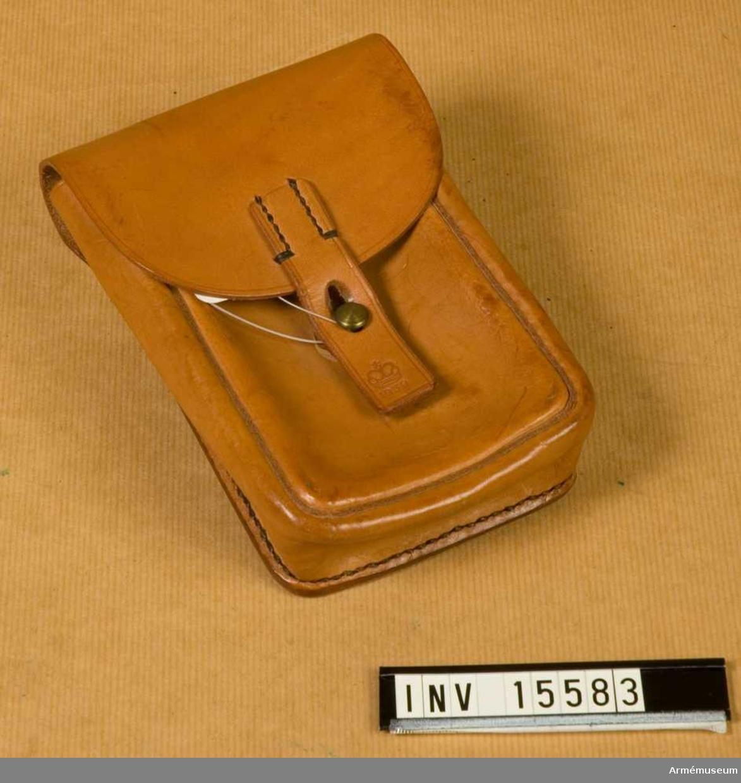 Grupp C. Samhörande nr är 15573-15586. Väska, kulsprutegevärsskytt, infanteriet.