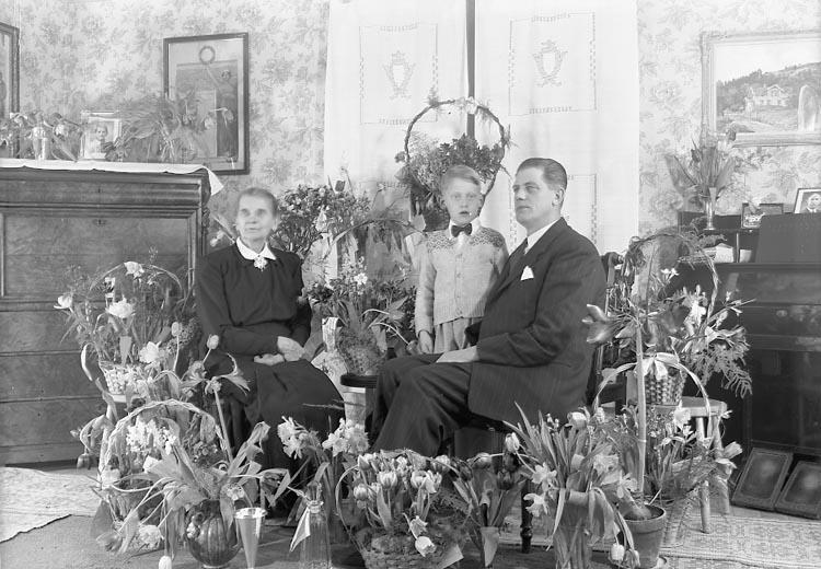 """Enligt fotografens journal nr 7 1944-1950: """"Johansson, Herr John Holm, Stenungsund 3 generationer""""."""