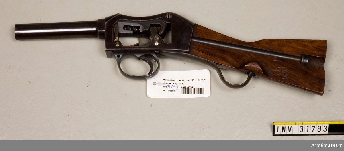 Grupp E II.  Genomskuren. Till Martini-Henrys gevär m/1871.