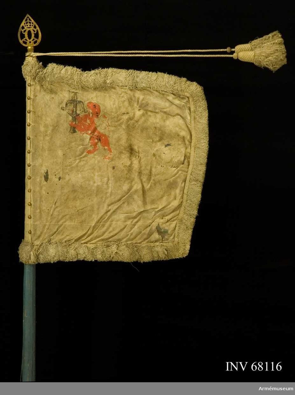 Duk: Tillverkad av enkel sidendamast, vit med liten horisontell skarv nedtill, 75 mm hög. Dukens utsida belagd med tarlatan. Duken fäst vid stången med tre rader tennlikor på ett mönstervävt vitt band.  Dekor: Målat, omvänt lika på båda sidor, upprättstående, mot stången vänt lejon, rött, förande ett armborst i brunt med en pålagd gyllene pil (Smålands vapen) i övre, inre hörnet.  Frans: Dubbel, tillverkad av vitt silke.  Banderoller: En snodd och två tofsar av vitt silke (den ena tofsen en oklädd löpring).  Stång: Tillverkad av trä, kannelerad och blåmålad. Löpande bärring. Klack av järn, endast ringen kvar, 40 mm. Holk och spets. Spetsen med krönt spegel C.
