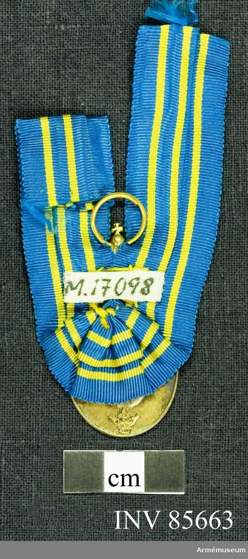 Grupp M.  Medaljen av oval form under en stor kunglig krona. Åtsidan: GUSTAV V SVERIGES KONUNG, Konungens huvud åt venster bart. Frånsidan: FÖR FÖRTJÄNSTER OM SVERIGES LANDSTORM på 4 rader. Därunder landstormsmärket, omgivet av Sveriges tre kronor.  Bandet mellanblå ribb med 4 smala gula ränder i bandets längdriktning.