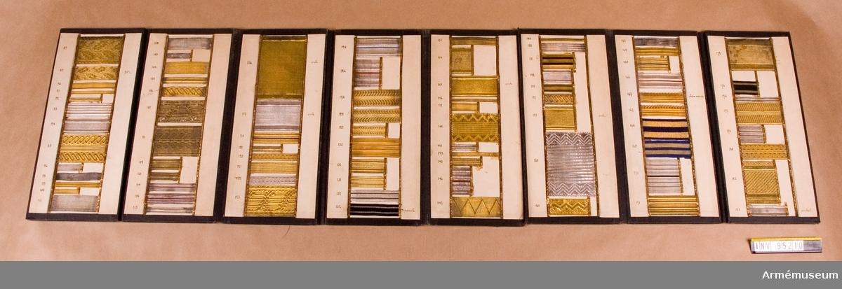 Galonprofver II. Provbok med olika typer av galoner.