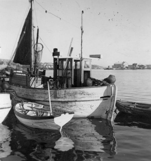 """Text till bilden: """"Fiskebåtar i Lysekil. 1945"""""""