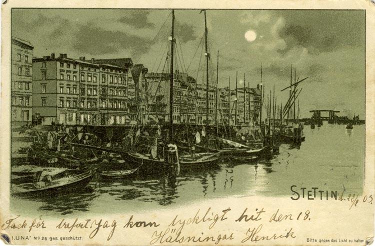 Notering på kortet: Stettin.
