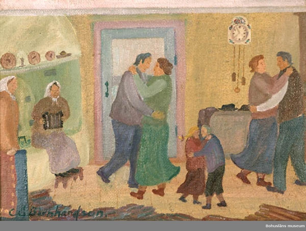 Dans i köket [målning]   bohusläns museum / digitaltmuseum