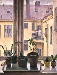 Fönster mot bakgård [Målning]