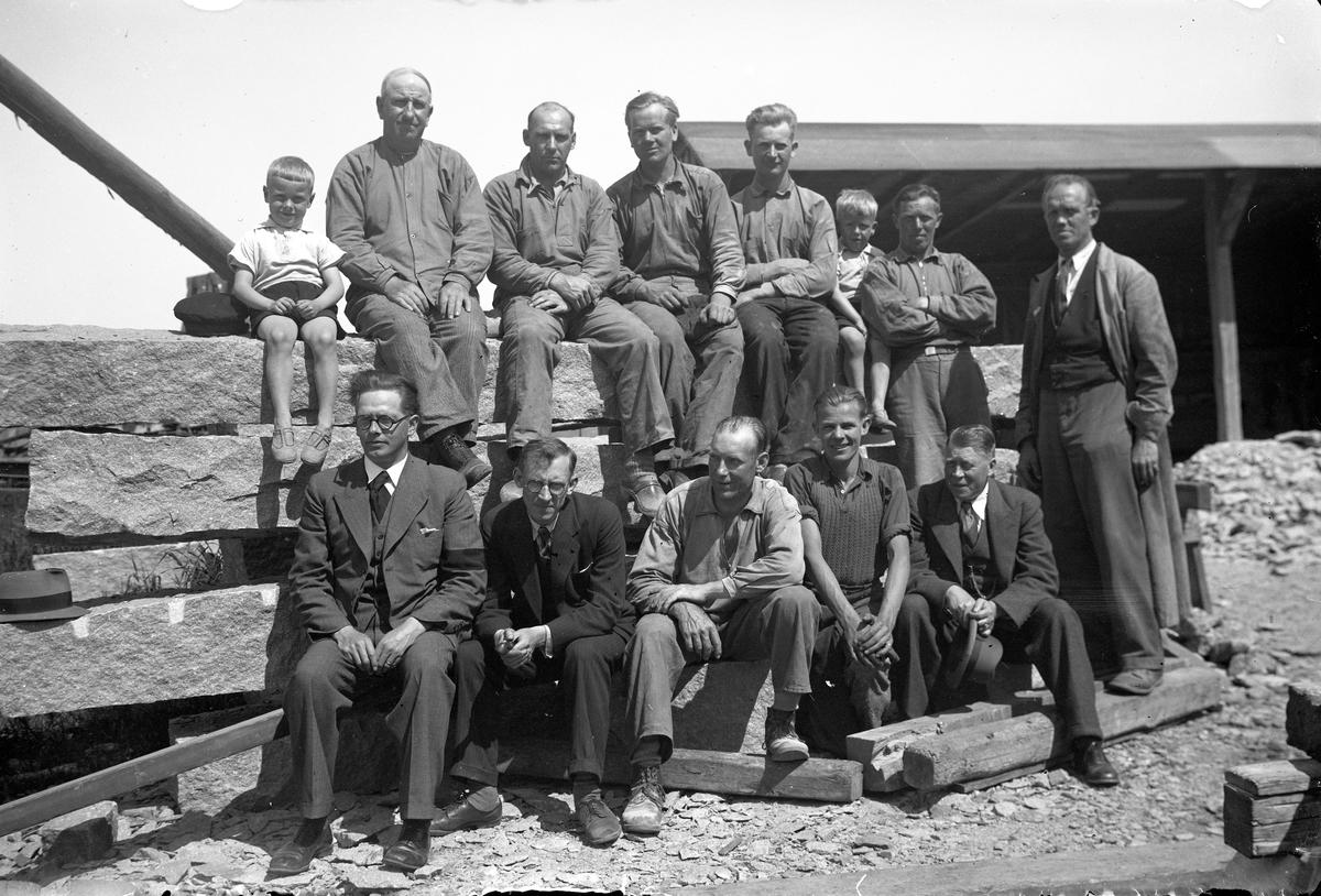 En grupp stenbrytningsarbetare i Jönköping.