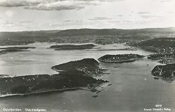 Oslofjorden. Oslo i bakgrunn.