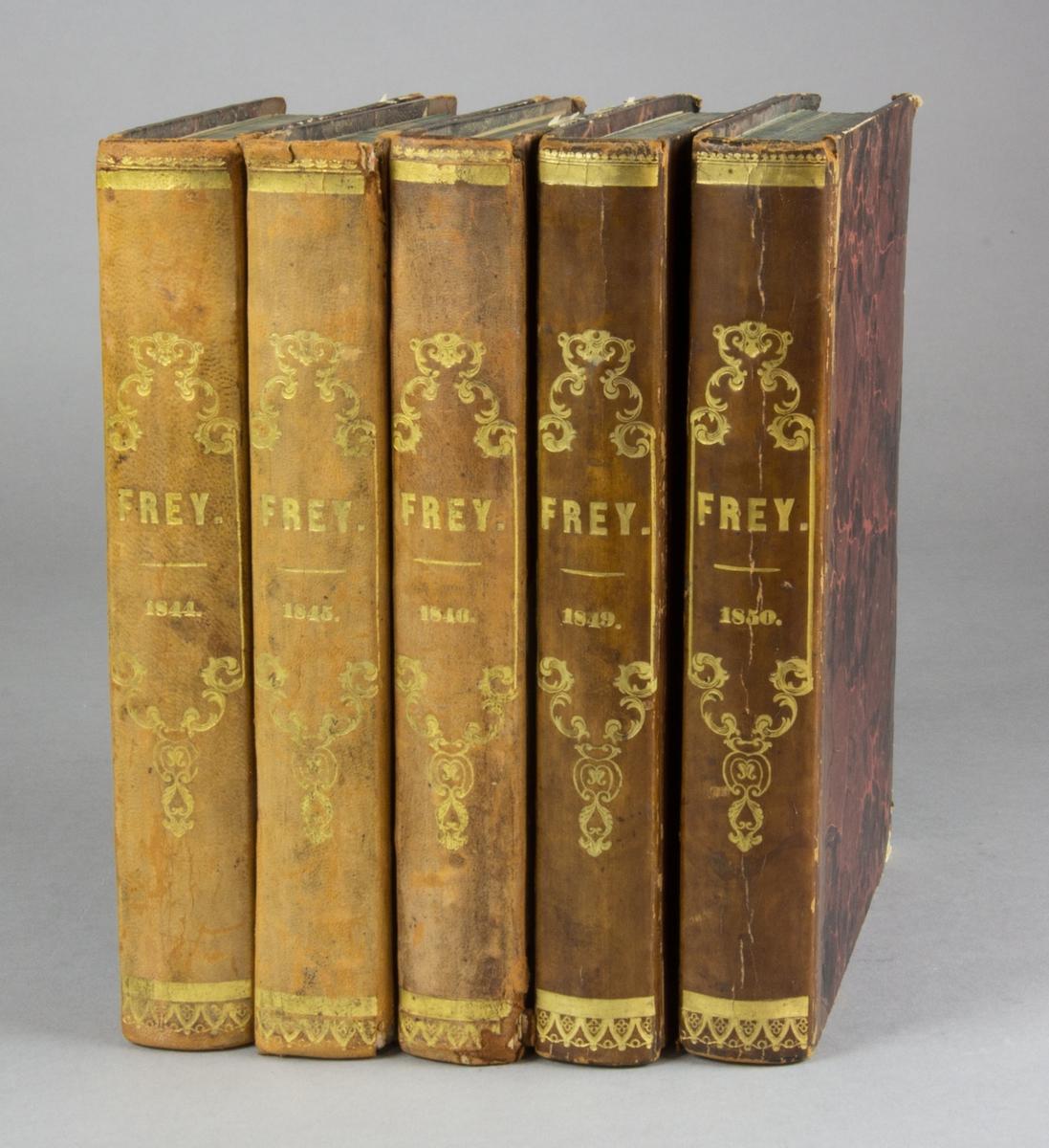 Bokband bestående av fem inbundna tidskrifter.