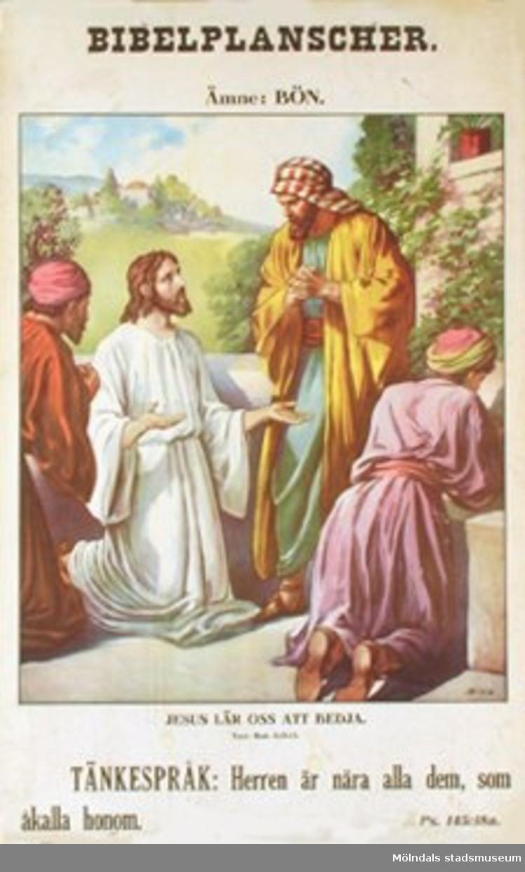 Kristendomskunskap.Bibelplanscher: Bön. Jesus lär oss att bedja. (Matt. 6: 9-13).Konstnär: Bida.