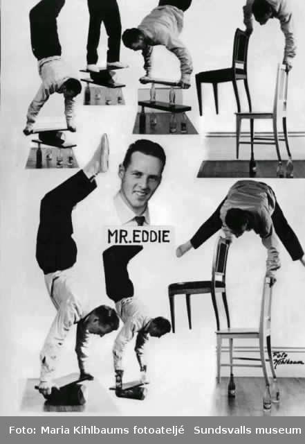 """Artistporträtt på """"Mr Eddie"""". Beställt av Thage Sjödin, Selånger."""