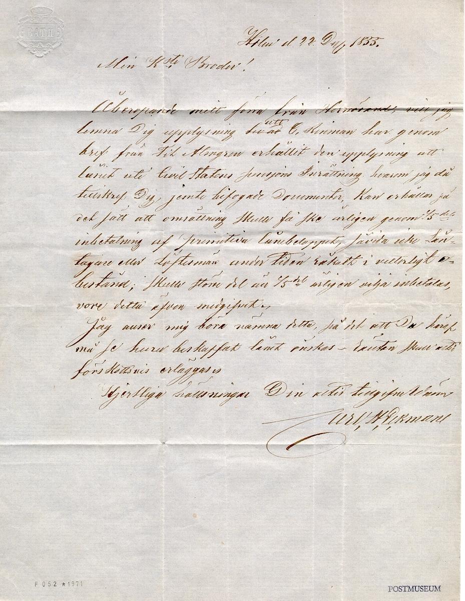 Frankerat brev, inrikes avsänt från Nyland i Ångermanland 22 november 1855 till Stockholm. Frankerat med 4 Skilling Banco.  Stämpeltyp: Normalstämpel 7