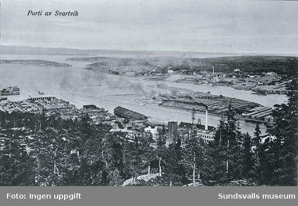 Vy över sågen i Svartvik. Gamla sågen nu nedbrunnen.