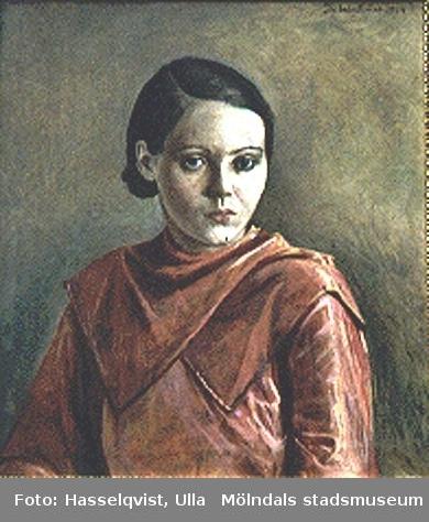Målning utförd av Teodor Lindbäck, Lindome, 1934. Olja på duk. Porträtt av Britta Hagman, f. Johansson 1914, d. 1963. Tavlan ägs av dottern Britt-Marie Hagman.