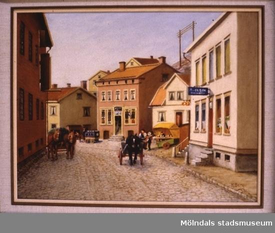 Häst och vagn på Gamla torget i Kvarnbyn, Mölndal.En tavla målad av den naivistiske mölndalskonstnären Knut Berg.
