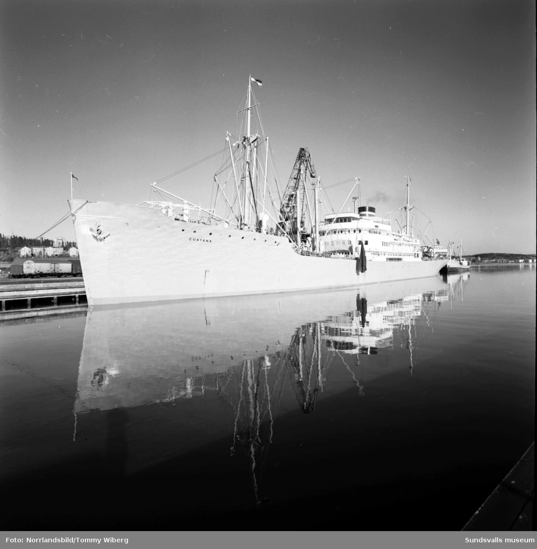 Fartyget Guayana i Sundsvalls hamn.