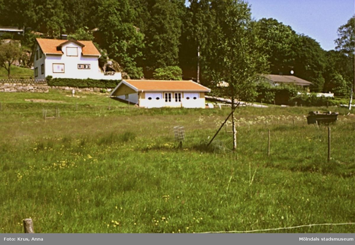 Inseros 1:32. Översiktsbild av boningshus och nybyggt garage från söder.
